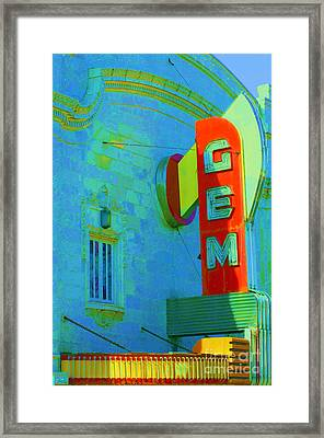 Sign - Gem Theater - Jazz District  Framed Print by Liane Wright