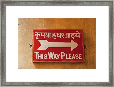 Sign In Hindi And English, City Palace Framed Print by Inger Hogstrom