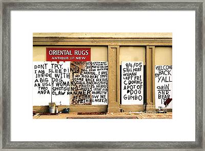 Sign Of Distress Post Hurricane Katrina Message Framed Print