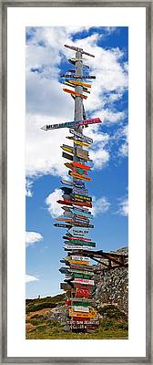 Sign Post Showing Distances To Various Framed Print by Panoramic Images