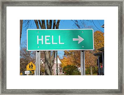 Sign To Hell Framed Print