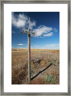 Sign To The Welk Farm, Strasburg Framed Print
