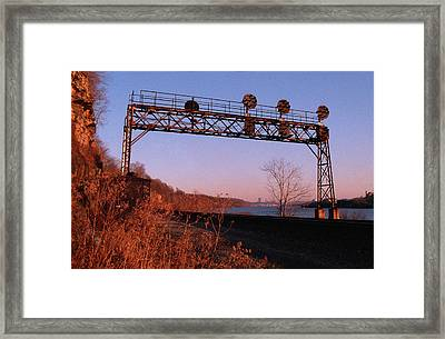 Signal Bridge Along Ohio River Near Pittsburgh Framed Print by Eric Miller