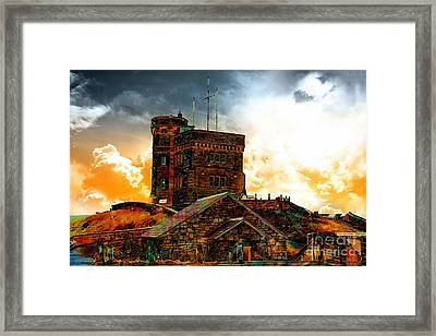 Signal Hill - Cabot Tower - Enhanced Sky Framed Print by Barbara Griffin