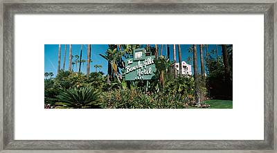 Signboard Of A Hotel, Beverly Hills Framed Print