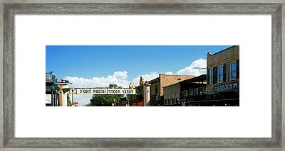 Signboard Over A Street, Fort Worth Framed Print