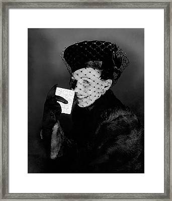 Signe Hasso Wearing A Veiled Hat Framed Print by Horst P. Horst