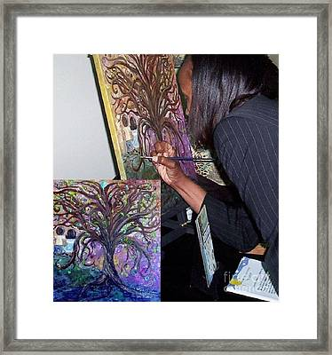 Signing The Tree With Jackie Joyner- Kersee  Framed Print by Eloise Schneider