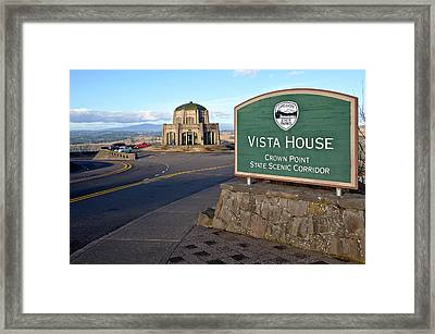 Signpost At Vista House, Crown Point Framed Print by Panoramic Images