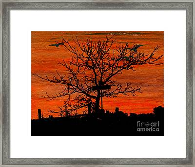 Signpost Or Tree At Corner Framed Print by R Kyllo