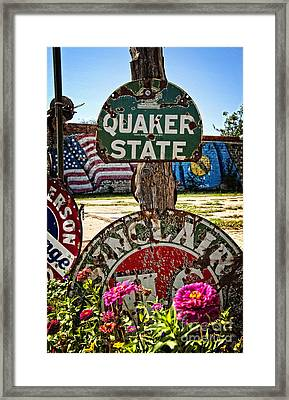 Signs Of The Times On Route 66 Framed Print by Lee Craig