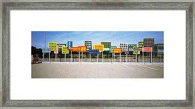 Signs On A Street, Maxwell Street Framed Print by Panoramic Images