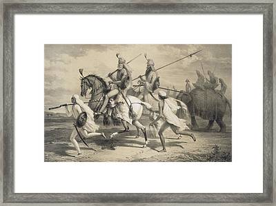 Sikh Chieftans Going Hunting Framed Print by A Soltykoff