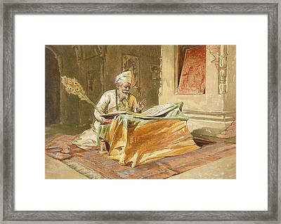 Sikh Priest Reading The Grunth Framed Print by William 'Crimea' Simpson