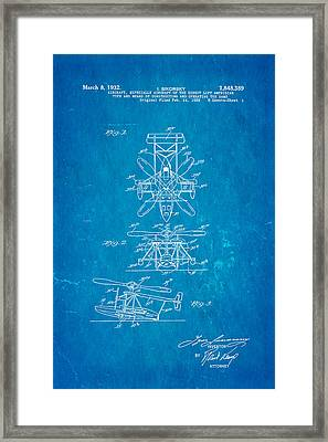 Sikorsky Helicopter Patent Art 1932 Blueprint Framed Print by Ian Monk