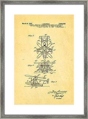 Sikorsky Helicopter Patent Art 1932 Framed Print by Ian Monk