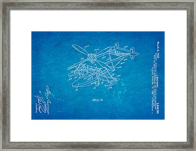 Sikorsky Helicopter Patent Art 2 1932 Blueprint Framed Print by Ian Monk