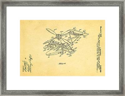 Sikorsky Helicopter Patent Art 2 1932 Framed Print by Ian Monk