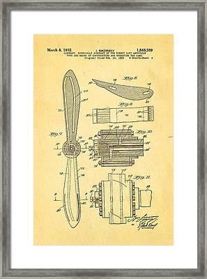 Sikorsky Helicopter Patent Art 4 1932 Framed Print by Ian Monk