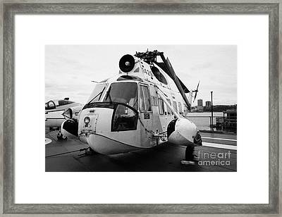 Sikorsky Hh 52 Hh52 Sea Guardian Helicopter On Display On The Flight Deck Framed Print