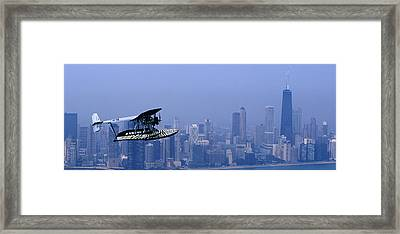 Sikorsky S-38b Replica Against The Chicago Skyline Framed Print by Austin Brown