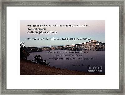 Silence - Mother Theresa Framed Print by Sharon Elliott