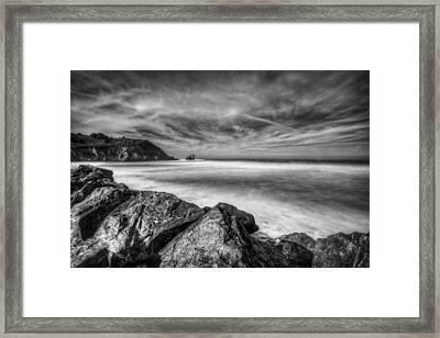 Silence In Black And White - Rockaway Beach Pacifica California  Framed Print