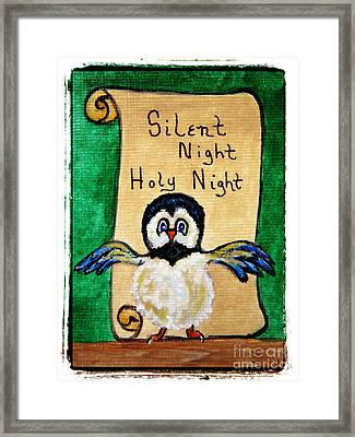 Silent Night - Whimsical Chickadee Choir Director Framed Print