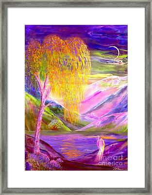 Silent Waters, Silver Birch And Egret Framed Print by Jane Small