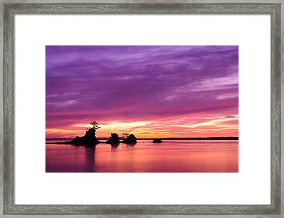 Siletz Bay And The Three Brothers Framed Print