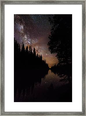 Silhouette Curves In The Starry Night Framed Print by Mike Berenson
