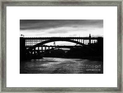 Silhouette In Evening Light Of Washington Heights Bridge Alexander Hamilton Bridge High Bridge Nyc Framed Print