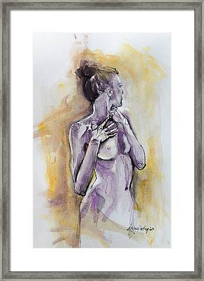 Silhouette In Purple Framed Print by Dorina  Costras