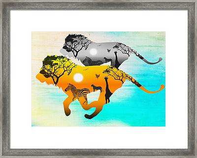 Silhouette Lions On A Hunt.  Framed Print