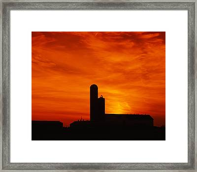 Silhouette Of A Barn And A Silo Framed Print by Panoramic Images