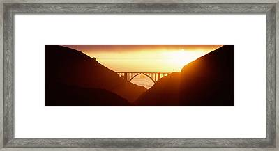 Silhouette Of A Bridge At Sunset, Bixby Framed Print by Panoramic Images