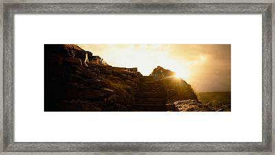 Silhouette Of A Cave At Sunset, Ailwee Framed Print by Panoramic Images
