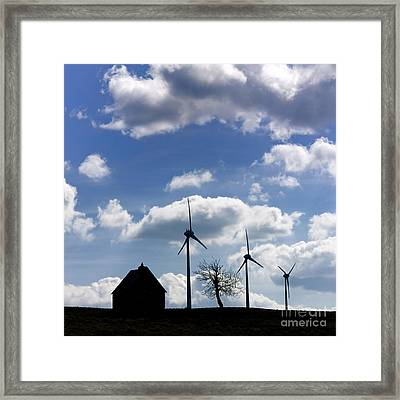 Silhouette Of A Farm And A Tree Framed Print