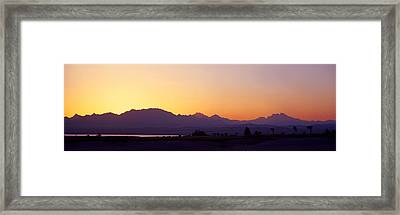 Silhouette Of A Golf Course With Sinai Framed Print by Panoramic Images