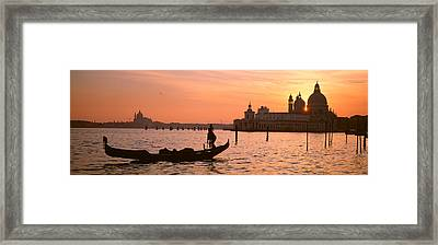 Silhouette Of A Gondola In A Canal Framed Print