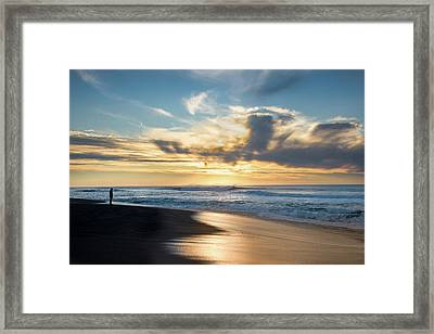 Silhouette Of A Person Standing Framed Print