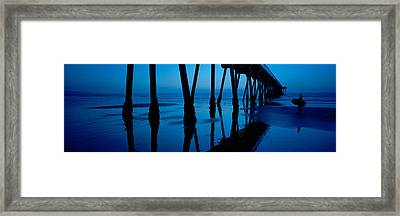 Silhouette Of A Pier, Hermosa Beach Framed Print by Panoramic Images
