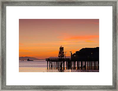 Silhouette Of A Pier, Stearns Wharf Framed Print