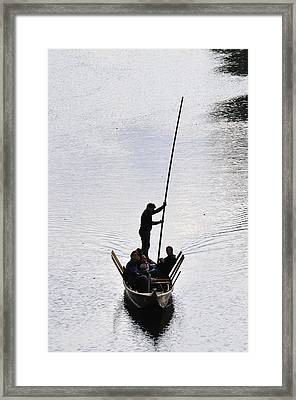 Silhouette Of A Punt On The River Framed Print