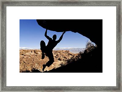 Silhouette Of A Rock Climber Framed Print by Josh McCulloch