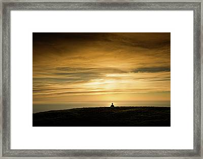 Silhouette Of A Woman Meditating On Top Framed Print