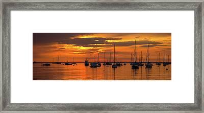 Silhouette Of Boats In Atlantic Ocean Framed Print