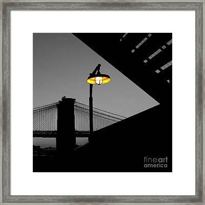 Silhouette Of Brooklyn Bridge New York City Framed Print by Sabine Jacobs