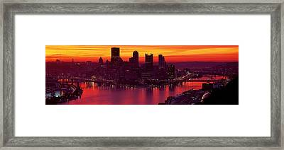 Silhouette Of Buildings At Dawn, Three Framed Print by Panoramic Images