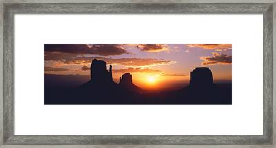 Silhouette Of Buttes At Sunset, The Framed Print